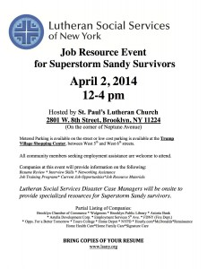 Job Resource Event for Superstorm Sandy Survivors @ St. Paul's Lutheran Church | New York | New York | United States
