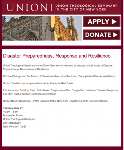 ALL NYC Disaster Preparedness, Response and Resilience @ Union Theological Seminary, Bonheoffer Room | New York | New York | United States