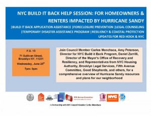 RED HOOK/GOWANUS NYC Build It Back Help and Info Session @ P. S. 15 | New York | United States