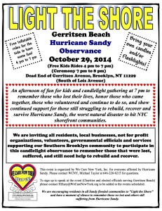 2014-10-29 WCNY 2nd Sandy Light the Shore Ceremony Flyer