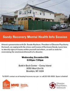 Coney Island: Disaster Psychiatry Outreach at the Build it Back Center @ Build It Back Center | New York | United States