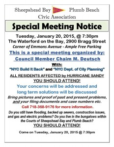 SHEEPSHEAD BAY/PLUMB BEACH Special Meeting with Build It Back and others @ The Waterford on The Bay | New York | United States