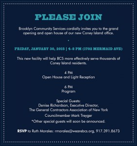 CONEY ISLAND Brooklyn Community Services Open House @ BCS Coney Island Office | New York | United States
