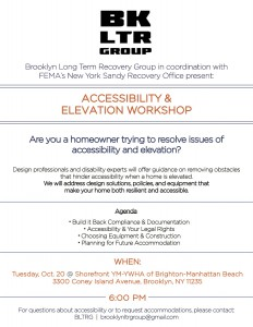 Accessibility and Elevation Workshop @ Shorefront Y | New York | United States
