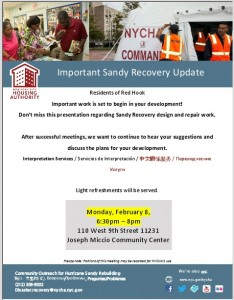 RED HOOK NYCHA Sandy Recovery Update Meeting @ Miccio Community Center | New York | United States