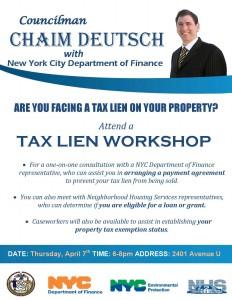 Tax Lien Info Session with Council Member Chaim Deutsch @ Office of Chaim Deutsch | New York | United States