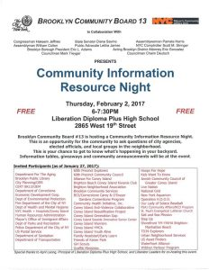 Brooklyn Community Board 13 Information Night @ Liberation Diploma High School | New York | United States